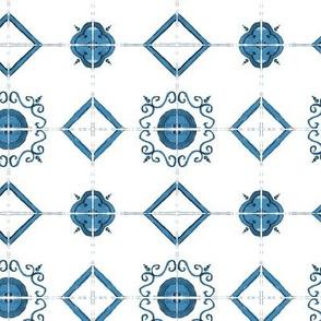 Blue majolica tiles - watercolor painted ornament