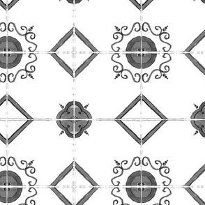 grey majolica tiles - watercolor black and white ornament