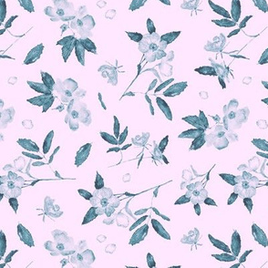 Teal wild roses on pink - watercolor florals
