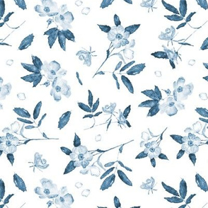 Indigo wild rose - watercolor tonal blue florals