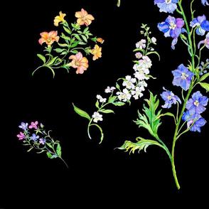 Summer Flowers-Black