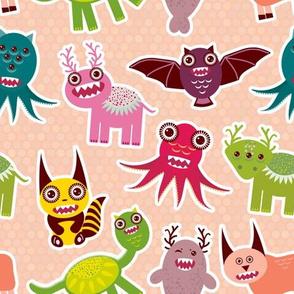 Cute cartoon Monsters seamless pattern on Dusty Pink polka dot background.