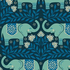 Lucky Elephants - Large Scale Blue