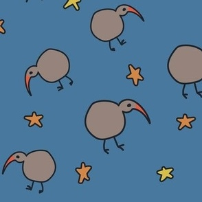 Kiwi Nightlife: birds,moon,stars, small scale for kids apparel, accessories and home decor