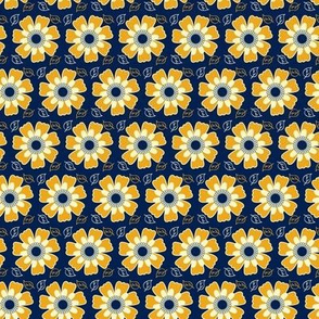 Granny's Garden - blue, mustard and cream filler pattern