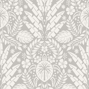 Hawaiian Damask - Large Scale Grey