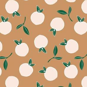 Soft minimalist summer fruit garden nursery cinnamon green white