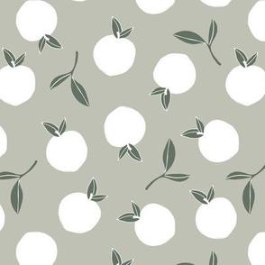Soft minimalist summer fruit garden nursery sage olive green white