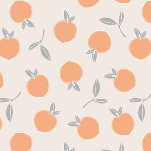 Soft minimalist summer fruit garden nursery blush orange gray neutral