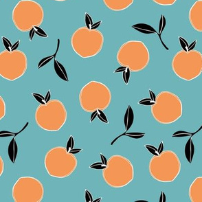 Soft minimalist summer fruit garden nursery orange teal aqua black tripical neutral