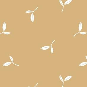 Delicate flow olive leaves boho garden summer spring design scandinavian minimalist trend nursery cinnamon ochre yellow white
