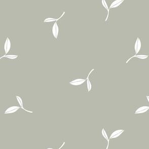 Delicate flow olive leaves boho garden summer spring design scandinavian minimalist trend nursery sage green mist white