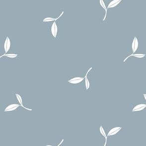Delicate flow olive leaves boho garden summer spring design scandinavian minimalist trend nursery stone blue boys