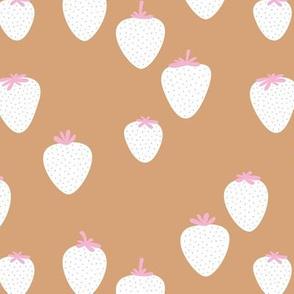 The sweet strawberry garden minimalist fruit boho style nursery caramel burnt orange pink white