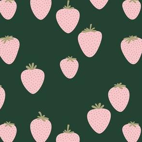 The sweet strawberry garden minimalist fruit boho style nursery forest green mint pink blush