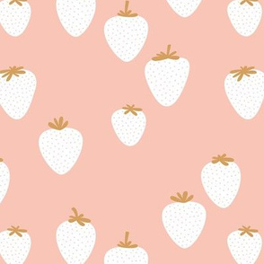 The sweet strawberry garden minimalist fruit boho style nursery blush pink white ochre