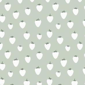 Strawberry flow garden minimalist fruit boho style nursery mint mist green sage white neutral greens