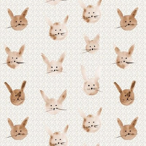 Earthy watercolor bunnies - painted easter rabbit pattern pa115-5