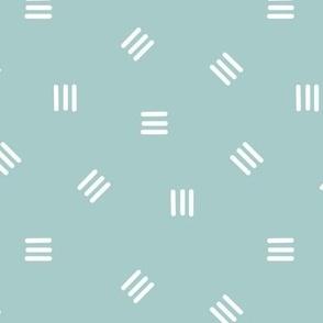 Medium Minimalist Spots of Lines in Blue Green