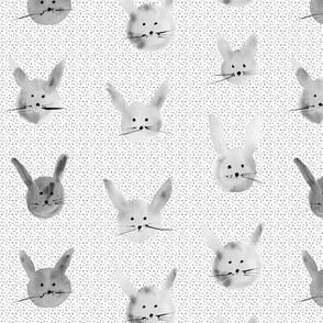 silver watercolor bunnies - painted easter rabbit pattern pa115-6