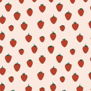 Strawberry flow garden minimalist fruit boho style nursery red blush cream green