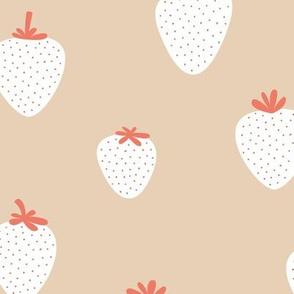 Strawberry flow garden minimalist fruit boho style nursery soft camel beige white coral  JUMBO wallpaper