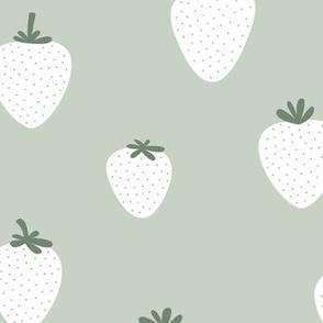 Strawberry flow garden minimalist fruit boho style nursery mint mist green sage white neutral green JUMBO wallpaper