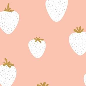 Strawberry flow garden minimalist fruit boho style nursery blush peach white ochre JUMBO wallpaper