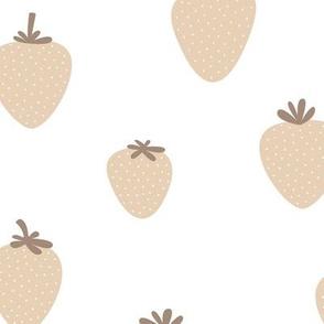 Strawberry flow garden minimalist fruit boho style nursery soft camel beige white sand grey neutral JUMBO wallpaper