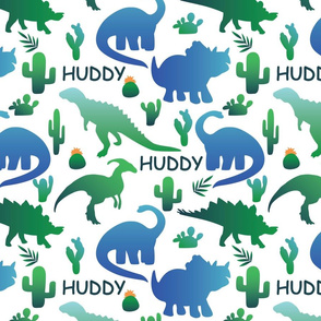 dinosaurs and cactus in blue and green