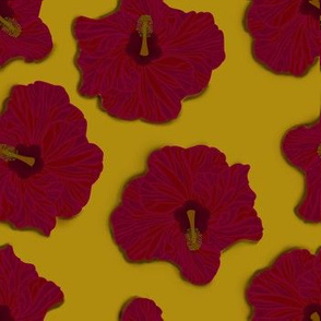 Red Hibiscus on Gold