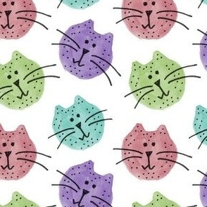 Colorful Cat Heads