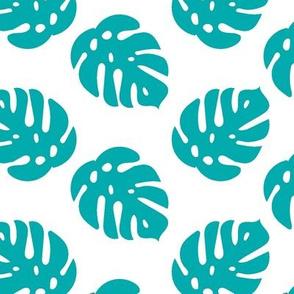 Tropical Monstera Leaves in ocean blue