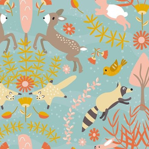 From My Window // Woodland Critters Damask Half Drop