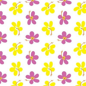 Orchid Pink & Yellow Hibiscus Flowers