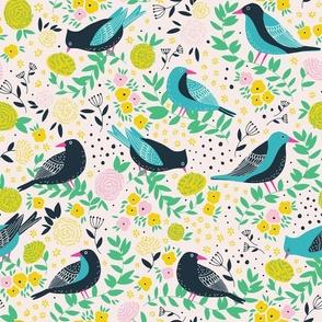 Birds in the garden in happy yellow