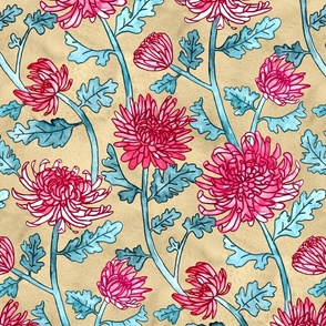 Magenta Chrysanthemum Watercolor & Pen Pattern - Beige  - Large Scale