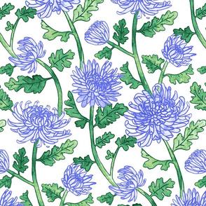 Purple Chrysanthemum Watercolor & Pen Pattern  - Large Scale