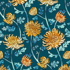 Yellow Chrysanthemum Watercolor & Pen Pattern - Navy - Large Scale