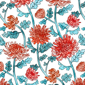 Red Chrysanthemum Watercolor & Pen Pattern - Mint - Large Scale