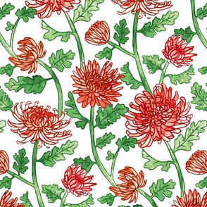 Red Chrysanthemum Watercolor & Pen Pattern - White - Large Scale