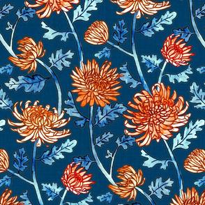 Orange Chrysanthemum Watercolor & Pen Pattern - Navy - Large Scale