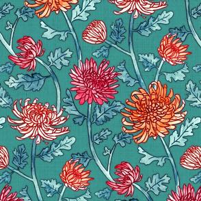 Warm Chrysanthemum Watercolor & Pen Pattern - Teal Green - Large Scale