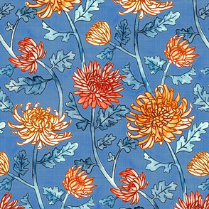 Chrysanthemum Watercolor & Pen Pattern - Cornflower Blue  - Large Scale