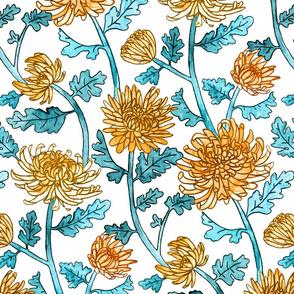 Yellow Chrysanthemum Watercolor & Pen Pattern - White - Large Scale