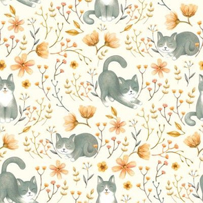 Happy Garden Cats - on cream