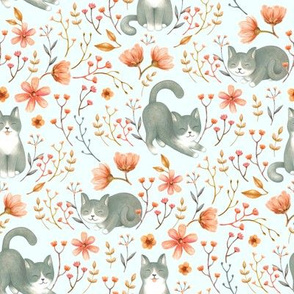 Charming Cottagecore Cats - on pastel blue