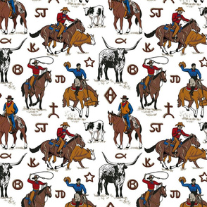 A Cowboys Work 10x10 white
