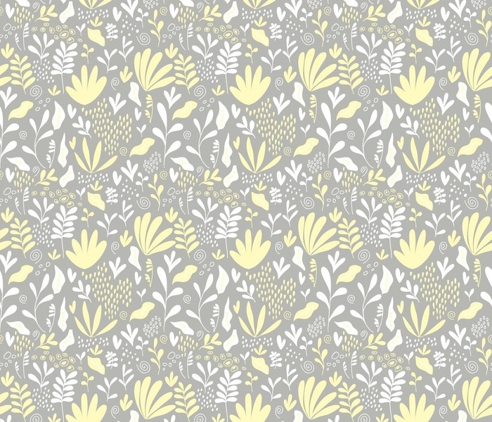 Modern Plant Design Pattern Yellow and Gray