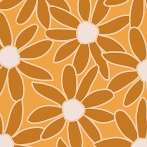 Daisy in earth tones - floral large scale for wallpaper and home decor